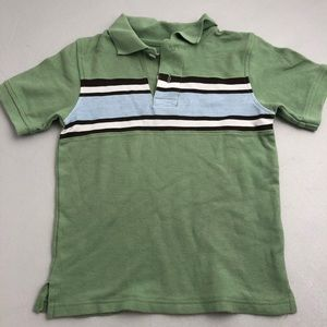 Gymboree green brown light blue striped polo